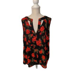 Guess Black and Red Rose Print Sleeveless Blouse